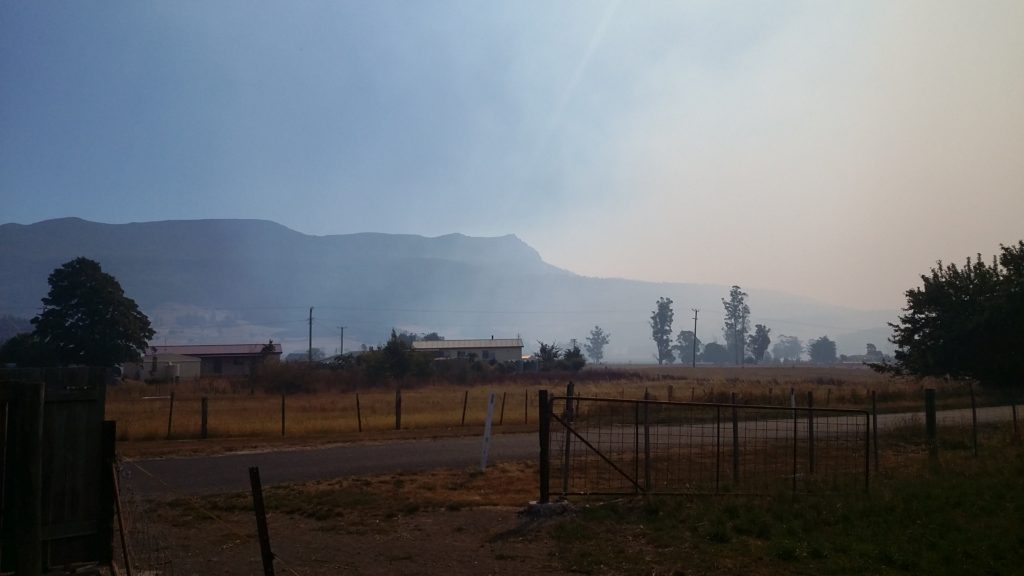 Mole Creek fire in the Western Tiers